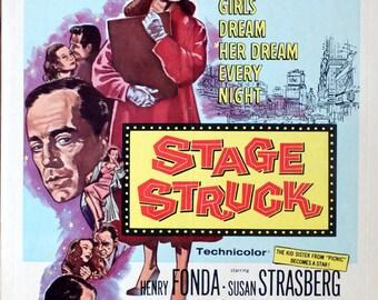 "Stage Struck. 1958 Original 14""x 19"" US Movie Poster. Henry Fonda,Susan Strasburg,Joan Greenwood,Christopher Plummer,Herbert Marshall."