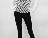 Backless Silk Halter - Stripe Halter - Cruise Wear - Vacation Top - Silk Halter - Sexy Halter Top