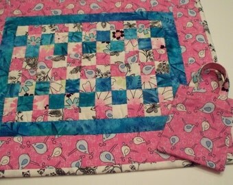 Pink Doll Quilt Hand Quilted - Set - Pink Blue Patchwork - Doll mini Tote  - Gifts for Little Girls