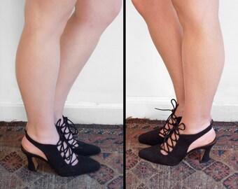 Leather LACE Heels 1990s J.D. Mizrachi Size 6.5 B Black Chunky Heel Spain