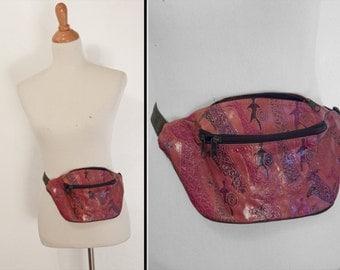 GIRAFFE Fanny Pack 1990s Vegan Leather Tribal Two Pocket Adjustable