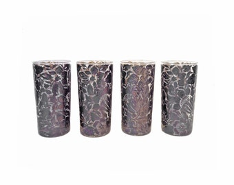 Black Floral Glasses, Set of 4