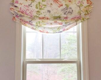 Faux Roman Shade Valance Custom Window Treatment    Relaxed Style    Designer Quality