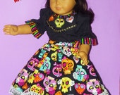 Day of the Dead Halloween Costume fits American Girl Doll Josefina.