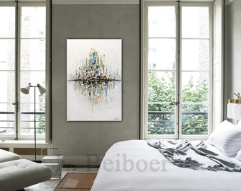 Original Abstract painting gold white large art modern peinture contemporary oil painting 24 x 36 wall art interior design by L.Beiboer