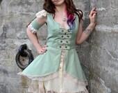 Steampunk flutter sleeve full skirt coat, Summer Frock coat, Steampunk vest