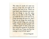 F. Scott Fitzgerald Quote, For What It's Worth, Quote Print, Literary Quote, Inspirational Print, Large Wall Art, Fine Art Print