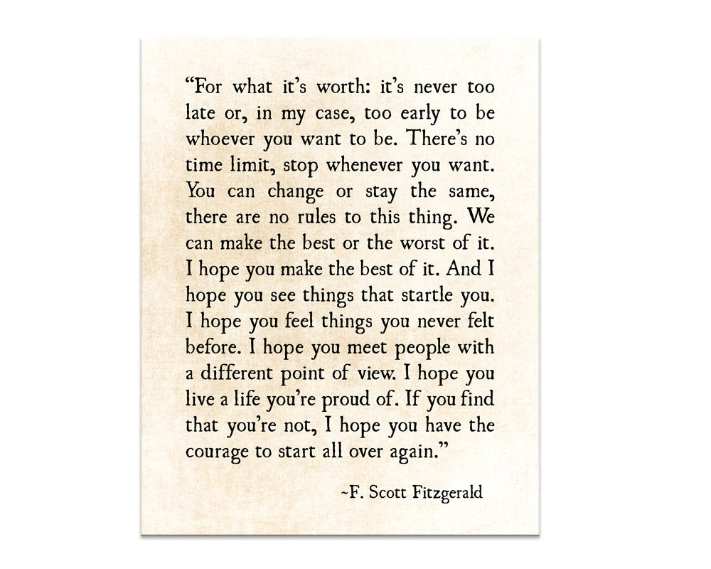 f scott fitzgerald quote for what its worth quote