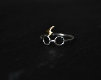 Sterling Silver Ring Glasses and Lightning Scar Ring Jewelry