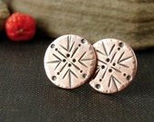Copper stud earrings. Stamped copper disc studs. Rustic boho jewelry for her.