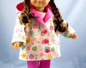 Doll Clothes American Girl - Jacket and Pants  in Pink and White Hearts Print - 18 Inch Doll Clothes