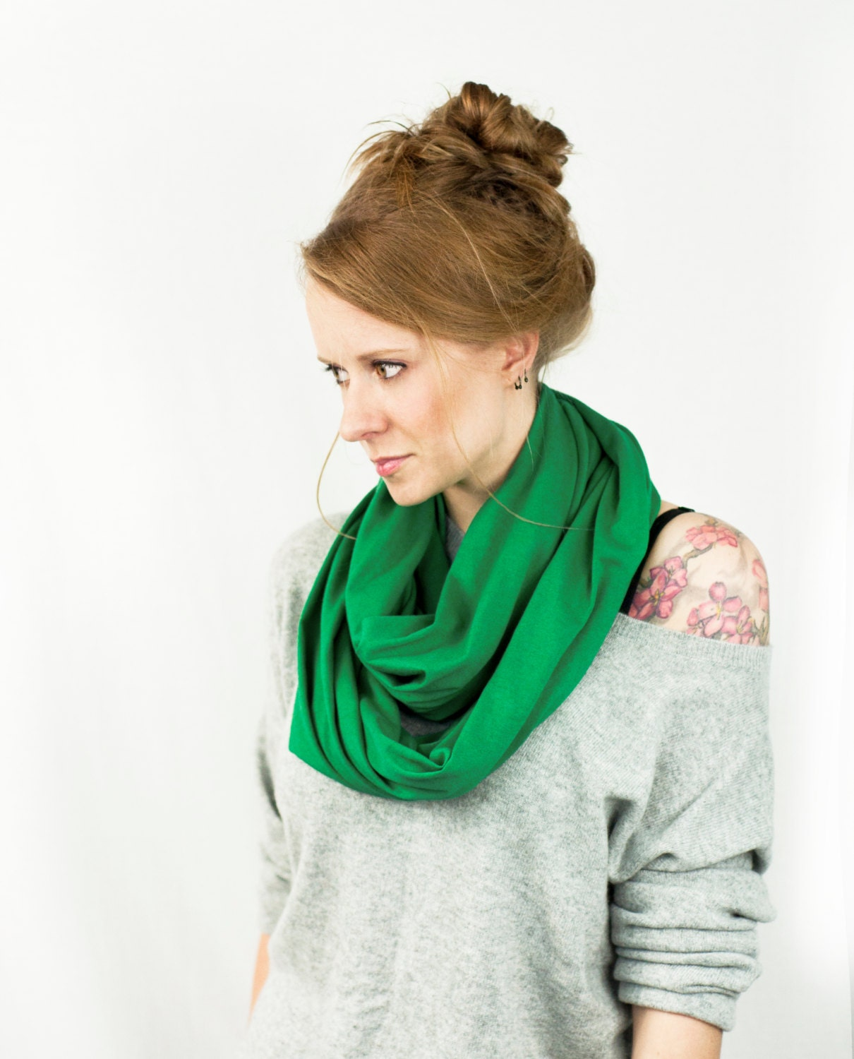 Kelly Green Infinity Scarf Green Scarf Jersey Scarf Circle