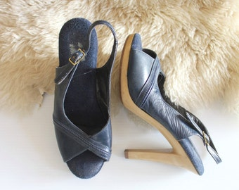 Vintage 70's Navy Leather and Wood Stiletto Heels Sz 6.5