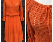 Vintage 1970s dress . orange crochet . gathered bell sleeves & bow at neck