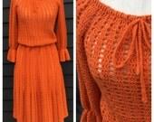 Vintage 1970s dress . orange crochet . gathered bell sleeves & bow at neck