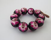 Orchid beads, fuchsia beads, 10 mm round beads, unique, fuchsia orchid beads, polymer clay beads, DIY Crafts, Jewelry Supply, 10 pieces