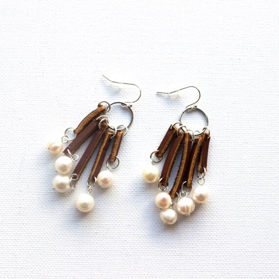 Leather Fringe Earrings// Short Tassel Earrings// Brown Leather Earrings// Bohemian Earrings// Boho Leather Earrings/ Cultured Pearl Earring