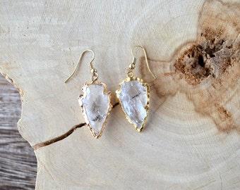 Quartz Crystal Arrowhead Gold Dipped Earrings
