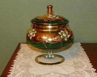 Antique Venetian Emerald Gold COMPOTE Covered JAR Vase enamel Floral green crystal Favor glass Gilt Art Nouveau