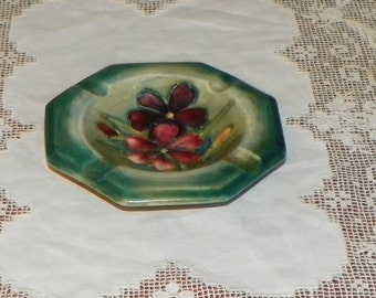 Antique Moorcroft Stoneware ASHTRAY Hexagon Flowers glaze England