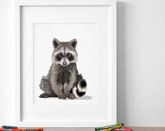 raccon nursery art, baby forest animal print, woodland nursery artwork, childrens raccoon illustration - raccoon art print