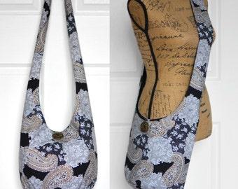 MADE TO ORDER Hobo Bag Boho Bag Hippie Purse Sling Bag Crossbody Bag Hobo Purse Bohemian Purse Paisley Fabric Purse Hippie Bag Slouchy Bag