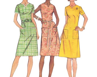 Simplicity 5477 Vintage 1970s Sewing Pattern Size 20 Bust 42 Jiffy Easy Look Slimmer Dress Notch Detail Darts Sleeveless Plus Size