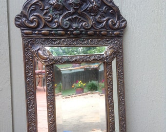 Antique French embossed copper embossed brass mirror