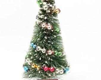 Vintage 1950's Bottle Brush Christmas Tree, Mercury Glass Beads Ornaments