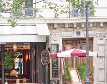 Paris Cafe Photograph, Le Parvis, Large Wall Art, French Kitchen Decor, Fine Art Travel Photograph