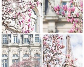 Paris in Spring Photography Set - Paris flowers, French Fine Art Photographs, Urban Wall Decor,  Large Wall Art, Pastel Colors