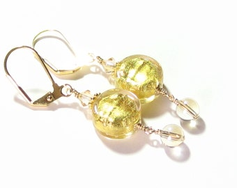 Gold Glass Drop Earrings, Murano Glass Earrings, Venetian Jewelry, Clip On Earrings, Gold Filled Leverbacks, Wedding Jewelry, Gift For Her