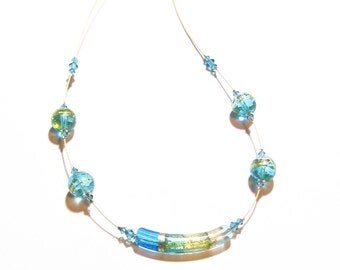 Murano Glass Aqua Gold Curved Tube Necklace, lampwork Glass Illusion Necklace, Venetian Jewelry, Italian Glass Jewelry, Gifts For Her