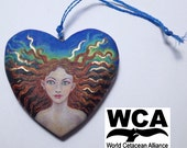 Mermaid Christmas ornament. Original art, hand-painted on a hanging wooden heart, to raise funds for the WCA.