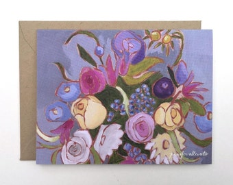 Blank floral note card painted flowers pretty stationery