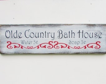 wood bathroom sign, primitive bathroom sign, white washed, with distressed lettering, bathroom, country bath decor, rustic, home decor