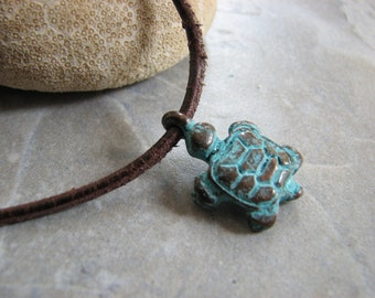 Turtle Necklace, Copper Patina Turtle Pendant, Distressed Leather Necklace, Rustic Vintage-Look Turtle Jewelry Boho Ocean Necklace