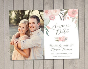 Save the Date Card / Magnet {Blush Floral} Printable by Vintage Sweet