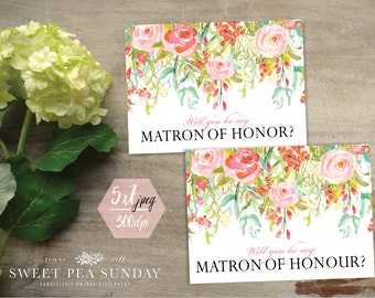 PRINTABLE Will You Be Matron of Honour Card. 5x7 Folded | Be My Matron of Honour? | Will You be My Matron of Honor? | Vintage Floral | DD006