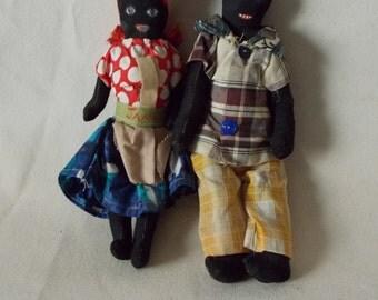 Great Vintage Jamaica Cloth Dolls - Folk Art Dolls