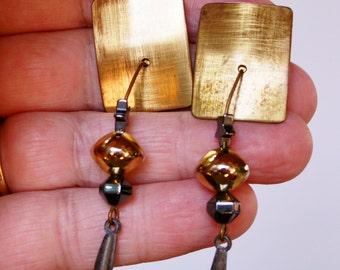 Vintage Artisan Mixed Metal Bead and Panel Pierced Earrings