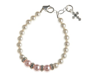 Pink and White Pearls With Sterling Silver Rondelle and Sterling Silver Cross Bracelet (BCRWP)