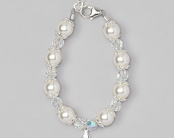 White Swarovski Pearls with sterling bead caps , Clear round Crystal and Sterling Silver Cross Charm Beaded Bracelet  (bbccr)