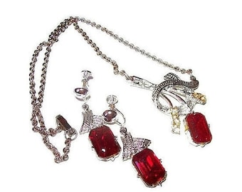 Red Rhinestone Necklace Earring Demi Set Hollywood Glamour Silver Metal Haute Couture Vintage