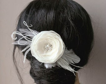 Wedding Hair Piece Bridal Hair Flower Bridal Hair Accessories Wedding Headpiece Ivory Bridal Fascinator Flower Hair Clip Lace Vintage Style