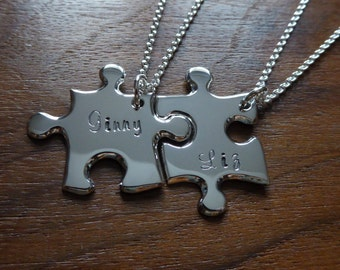 Two Silver Best Friend Puzzle Pendants with Names 3