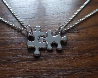 Silver Miniature Best Friend Puzzle Pendant Necklaces