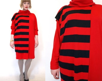 Vintage 80s black red stripe avant garde dress size L/XL