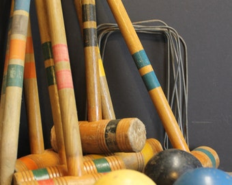 Vintage Croquet Set // Mallets // Balls // Wickets  // Stakes