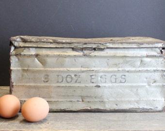 1940s Vintage Aluminum Egg Mailing Box // 3 Dozen // Primitive Farm House